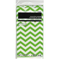 "Plastic Tablecover 54""X108""-Lime Green Chevron"