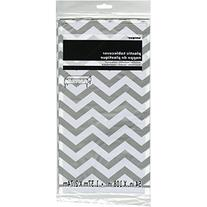 "Chevron Plastic Tablecloth, 108"" x 54"", Silver"