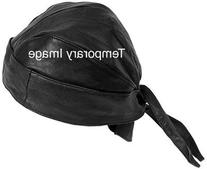 Diamond PlateTM Genuine Leather Biker Skull Cap