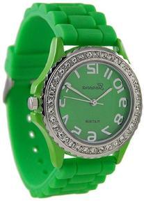 Geneva Platinum Women's 6886.Green Green Rubber Quartz Watch