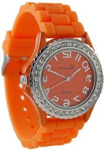 Geneva Platinum Women's 6886.Orange Orange Rubber Quartz