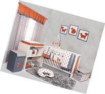 Bacati Playful Foxs 10 Piece Crib Set Including Bumper Pad,