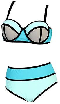 Women's Plus Colorful High Waisted Diving Suit Neoprene Push