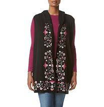 Democracy Plus Size Embroidered Open Front Vest