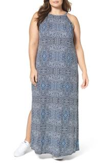 Plus Size Women's Three Dots Halter Style Maxi Dress, Size