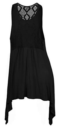 eVogues Plus size Laced Back Black Sleeveless Tunic Top - 5X