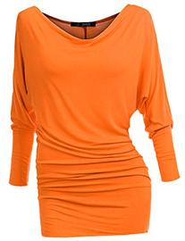 TWINTH Plus Size Loose Top Cowl Neck Chic Long Sleeve ORANGE