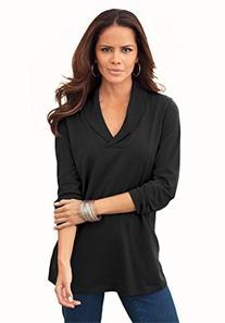 Roamans Women's Plus Size Shawl Collar Ultimate Tee Black,1X