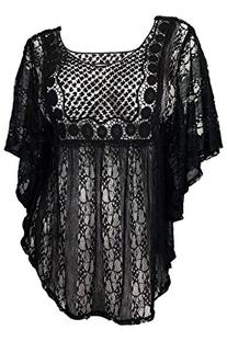 eVogues Plus Size Sheer Crochet Lace Poncho Top Black - 3X