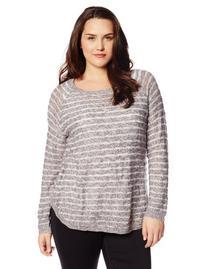 BB Dakota Women's Plus-Size Shyla Shadow Stripe Sweater,