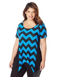 Star Vixen Women's Plus-Size Solid Short Sleeve Colorblock