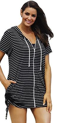 swimsuitsforall Women's Plus Size Stripe Terry Zip Hoodie 18