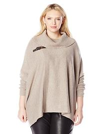 Calvin Klein Women's Plus-Size Sweater Cape with Buckle,