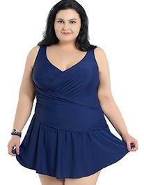 Women's Plus Size Swimdress Pure Color Swimsuit Beachwear
