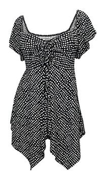 eVogues Plus size Deep V-neck Asymmetric Slimming Top Polka