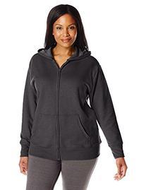 Just My Size Women's Plus-Size Full Zip Fleece Hoodie, Ebony