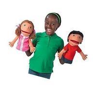 Plush Hand Puppets, Happy Kids, Set of 4 Puppets