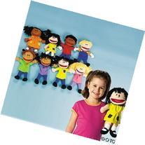 Fun Express - Plush Happy Kids Hand Puppets Set of 8 Multi-