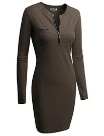 Doublju Fitted Ribbed Knit Zipper Front Mini Dress  MOCHA