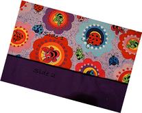 Pocket-2in1-Sheet Flowers & Bugs with Purple polycotton 2 in