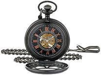ShoppeWatch Pocket Watch with Chain Black Dial Steampunk