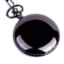 ShoppeWatch Pocket Watch Quartz Movement Black Case White