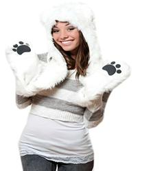Polar Bear Full Animal Hoodie Faux FUR Hat 3-in-1 Function