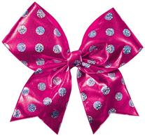 Chassé Girls' Polka Dot Performance Hair Bow Metallic Pink/