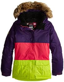 686 Girl's Polly Insulated Jacket, Medium, Violet Colorblock