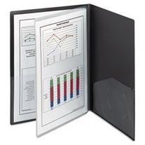 -- Poly Four-Pocket Folder, 8-1/2 x 11, Black, 5/Pack