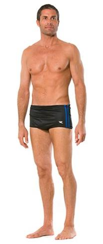 Speedo Men's Poly Mesh Square Leg Swimsuit, Black/Blue, 28