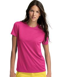 Hanes Women's Polyester Cool Dri T-Shirt - WOW PINK - X-