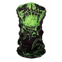 ZANheadgear Polyester Motley Tube with Green Torn Skull