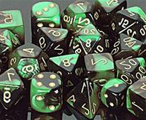 Polyhedral 7-Die Gemini Chessex Dice Set - Black-Green w/