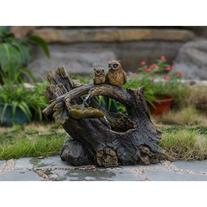 Polyresin and Fiberglass Tree Trunk Owls Fountain