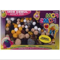 Pom Poms Assorted 300/Pkg-Animal Colors