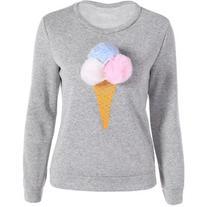 Pompon Ice Cream Print Pullover Sweatshirt