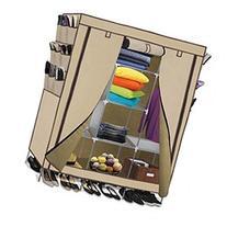 Portable Storage Organizer Wardrobe Closet, Beige, 13