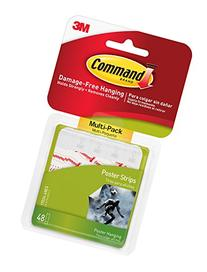 Command Poster Hanging Strips Value-Pack, Small, White, 48-