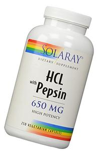 Solaray High Potency HCl With Pepsin 650 mg - 250 Capsules