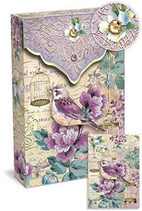 Punch Studio Pouch Note Cards Purple Bird with Gold Bird