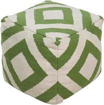 Surya POUF-218 100-Percent Wool Pouf, 18 x 18 x 18-Inch