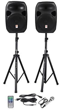 Rockville RPG122K Dual 12-inch Powered Speakers With Stands