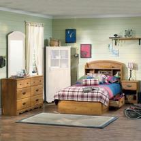 South Shore Prairie Kids Twin Wood Bookcase Bed 4 Piece