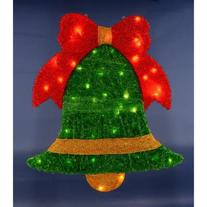 """40"""" Pre-Lit Soft Tinsel Green Jingle Bell with Red Bow"""