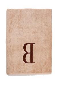 Avanti Linens Premier Linen Block Monogram Bath Towel, Brown