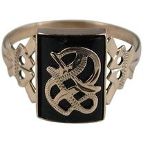 """Preowned Victorian Gothic """"s"""" Onyx Gold Initial Ring"""