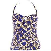BODEN Women's Printed Hoop Detail Tankini Top US Sz 4 Blue/