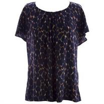BODEN Women's Printed Ravello Top US Sz 12 Navy/Brown/White