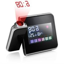 Projection Digital Weather Black LED Alarm Clock Snooze